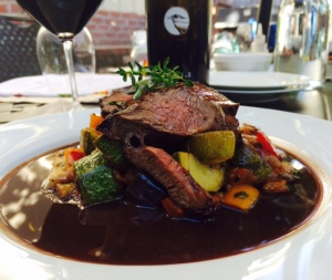 Lamb Sirloin with Ratatouille and Port Reduction